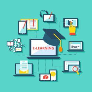 Dibujo de un esquema sobre el aprendizaje online.